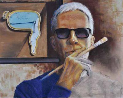 O'hoski,Robert-Self-portraitWithDaliClock-20x16