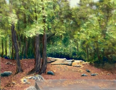 John Root, Spring Light at Cottage Ruins in the Rockwood Park, 11x14