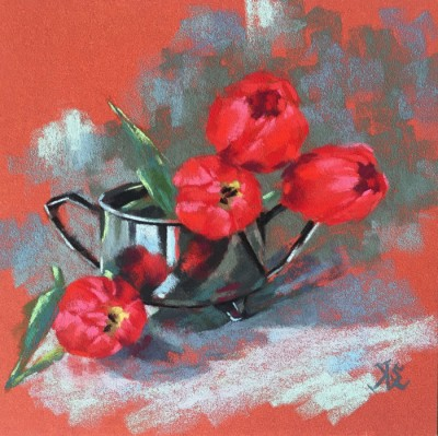 Elena Selitsky Tulips and silver 8x8